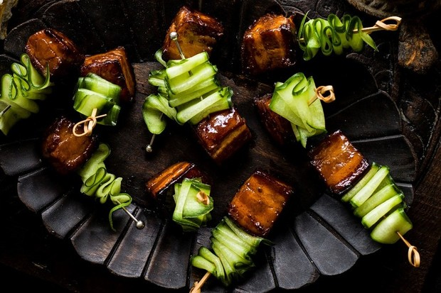 Pork belly skewers with Vietnamese caramel sauce