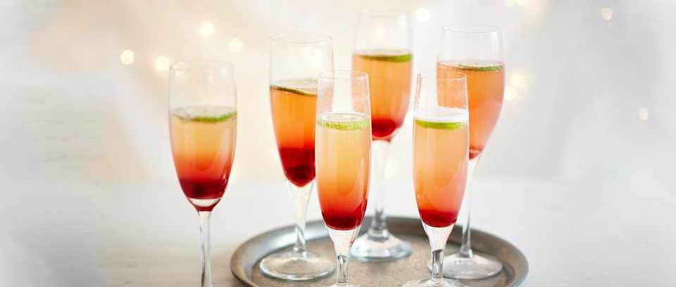 Homemade grenadine and Champagne cocktail recipe