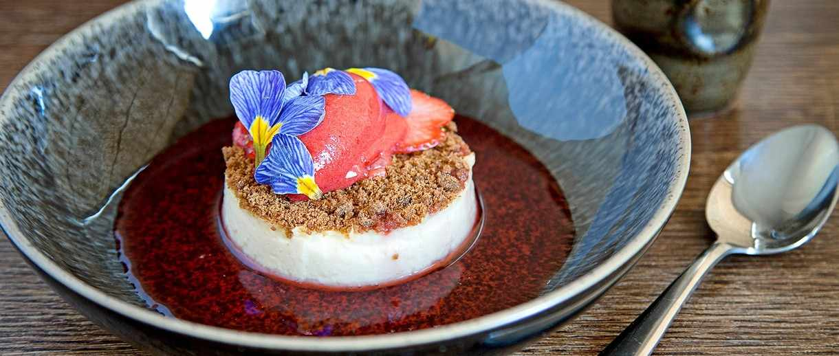 jasmine set custard with strawberry sorbet