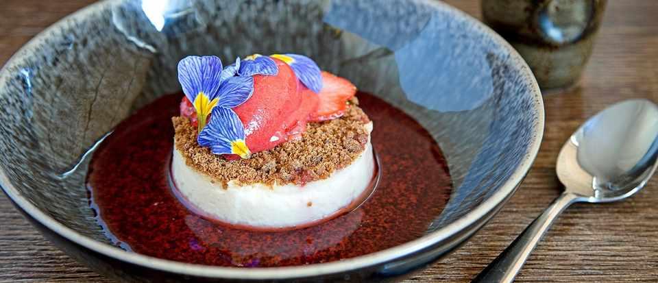 jasmine set custard with strawberry sorbet