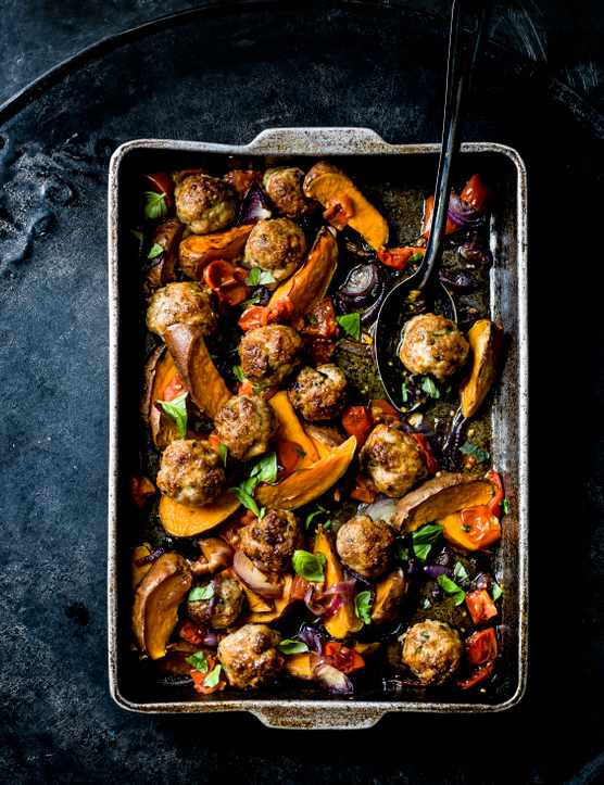 Tray Bake Recipe for Easy Meatballs With Sweet Potato Wedges