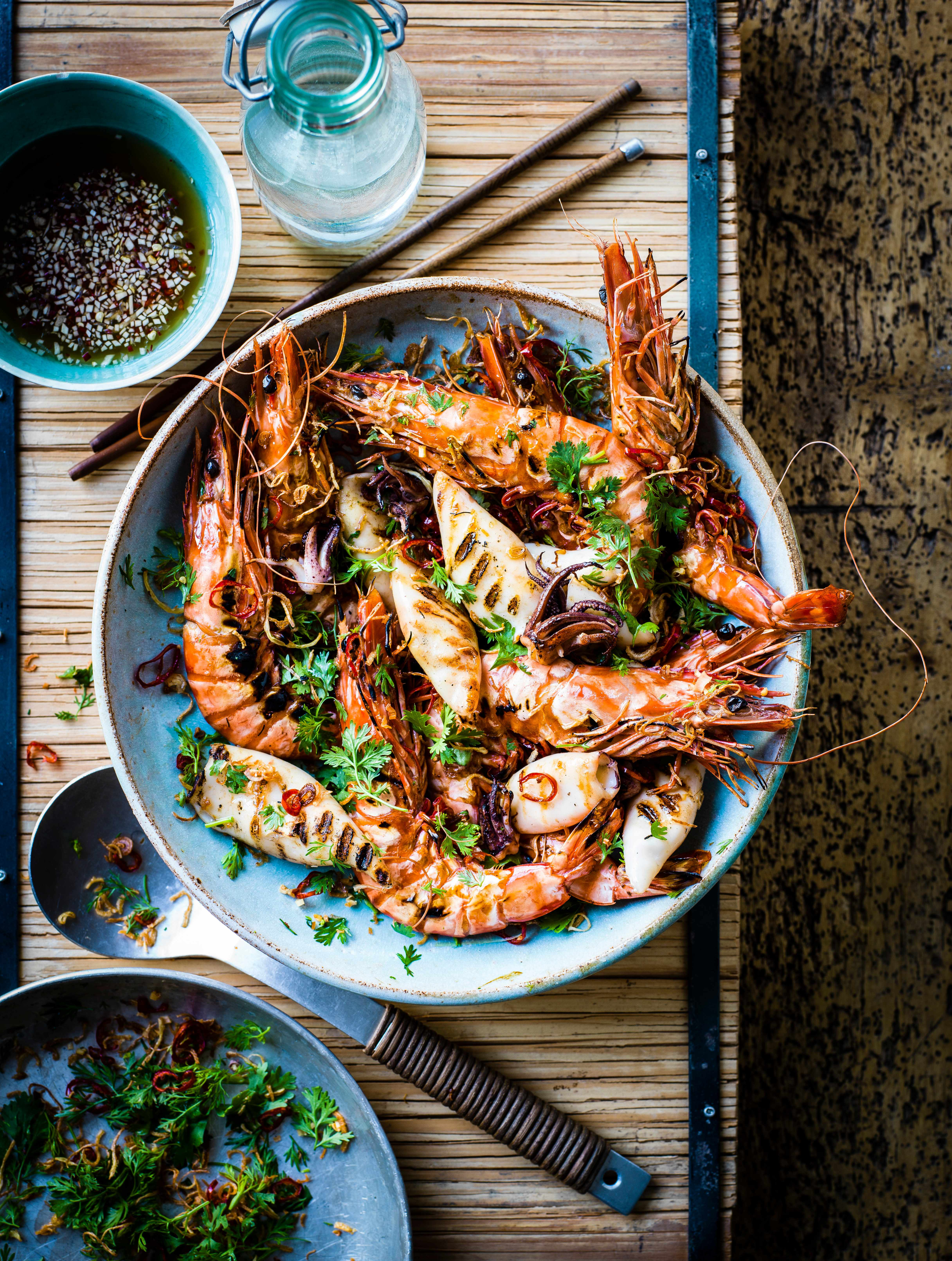 Chargrilled Baby Squid and Prawns