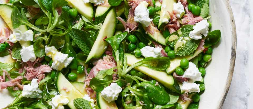 Quick pickled courgette, ham hock, pea and goat's cheese salad