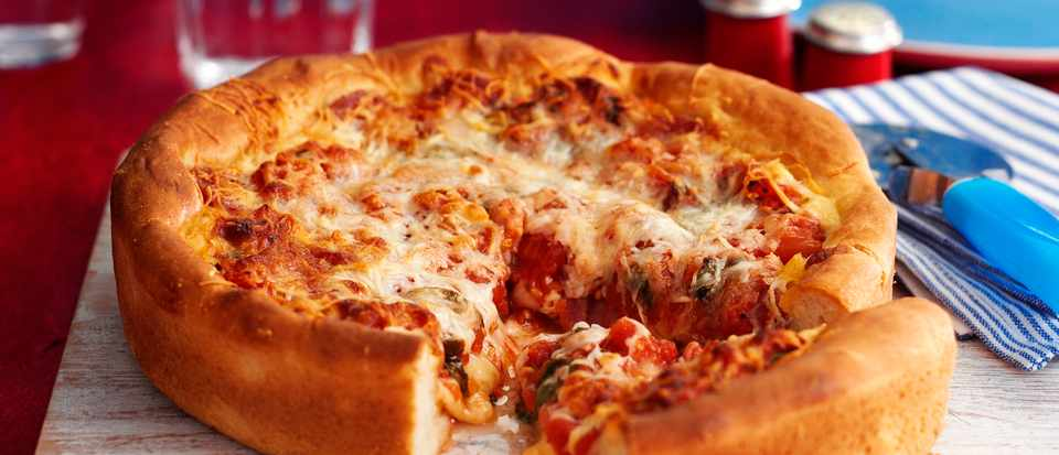 Chicago Deep Dish Deep Pizza With Pepperoni Recipe Olivemagazine
