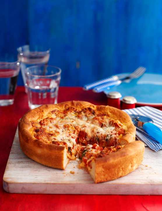 Deep-dish pepperoni pizza