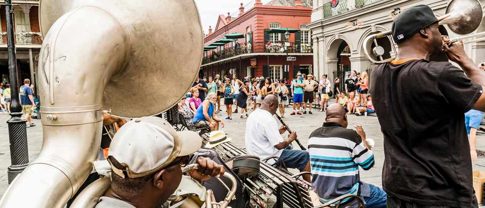 New Orleans - Scene with jazz music in a big square