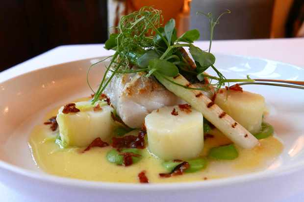 Hake fillet with pea and pancetta at Langford Fivehead