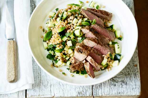 Lamb Steaks with Giant Cous Cous