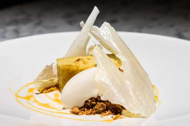 Pascere Buttermilk Sponge with flakes of milk reduction and white ice cream