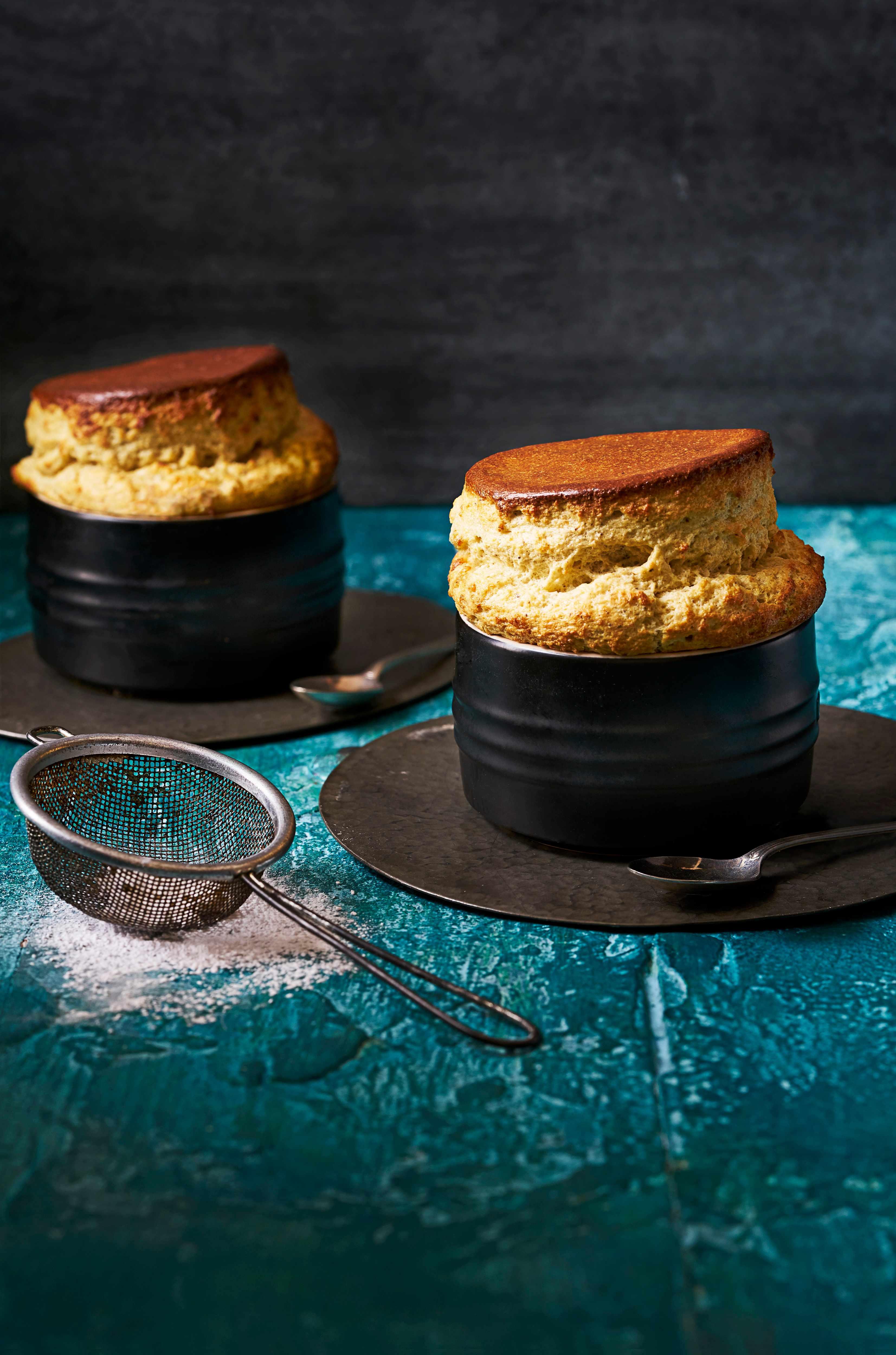 Pistachio and white chocolate soufflé