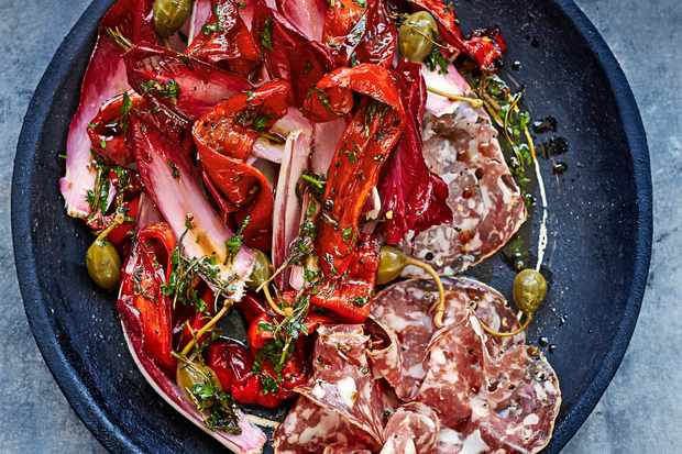 Roasted Red Pepper And Chicory Recipe With Caper Berries and Salami