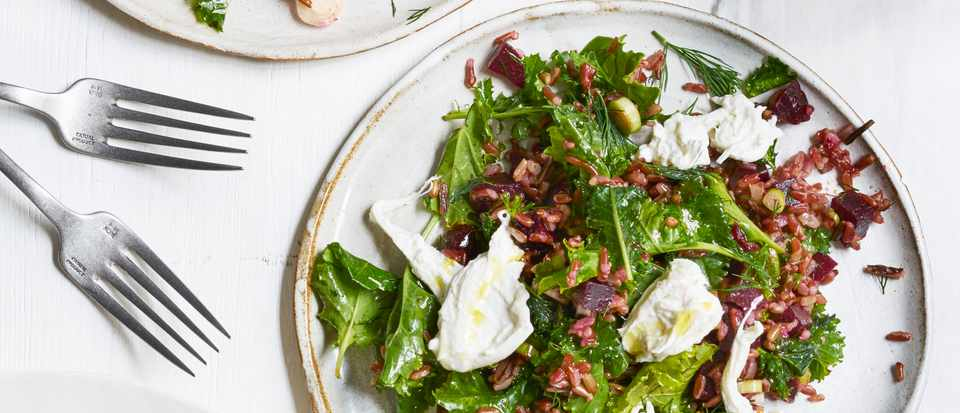 Easy Red Rice and Kale Salad with Creamy Burrata and Beetroot