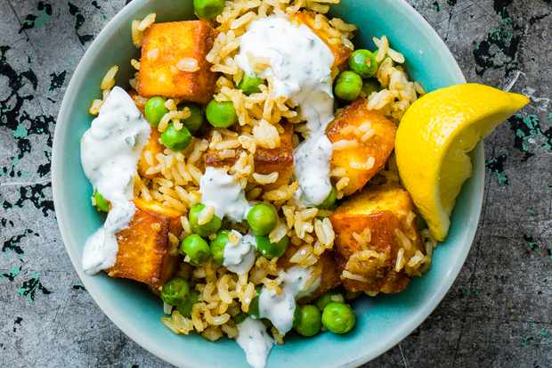 Spiced paneer and pea rice