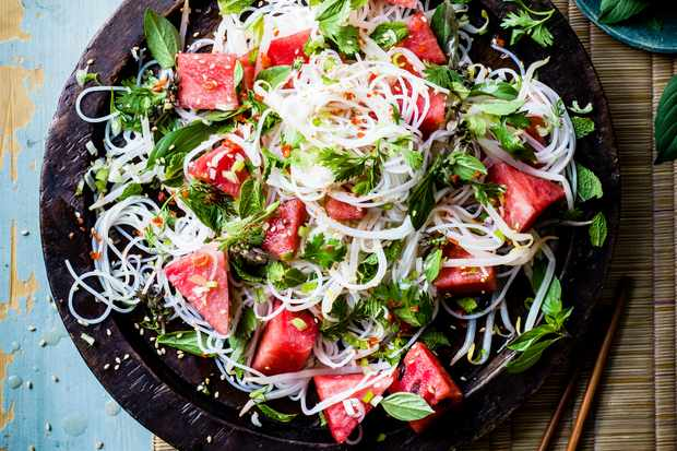 Watermelon and Rice Noodle salad with mint and holy basil