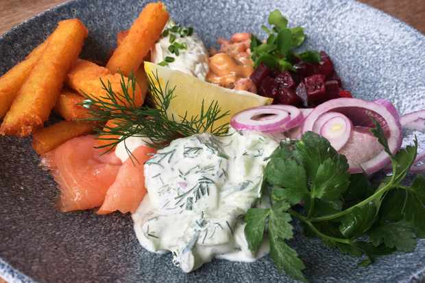 Lunch Sansibar - seafood platter of matjes, sweet beetroot, salmon with sour cream and dill, and brown shrimp