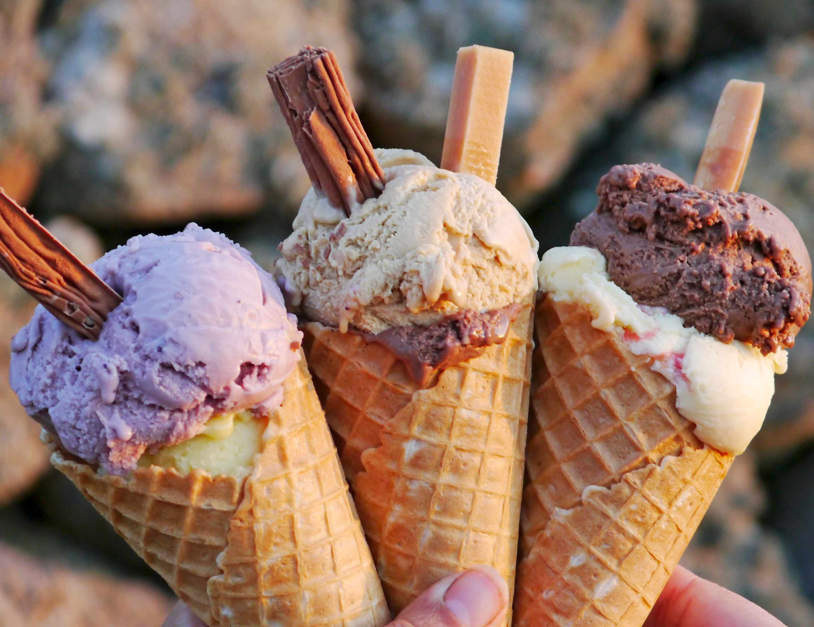 Isles of Scilly - Strawberry, Salted caramel and vanilla ice cream cones