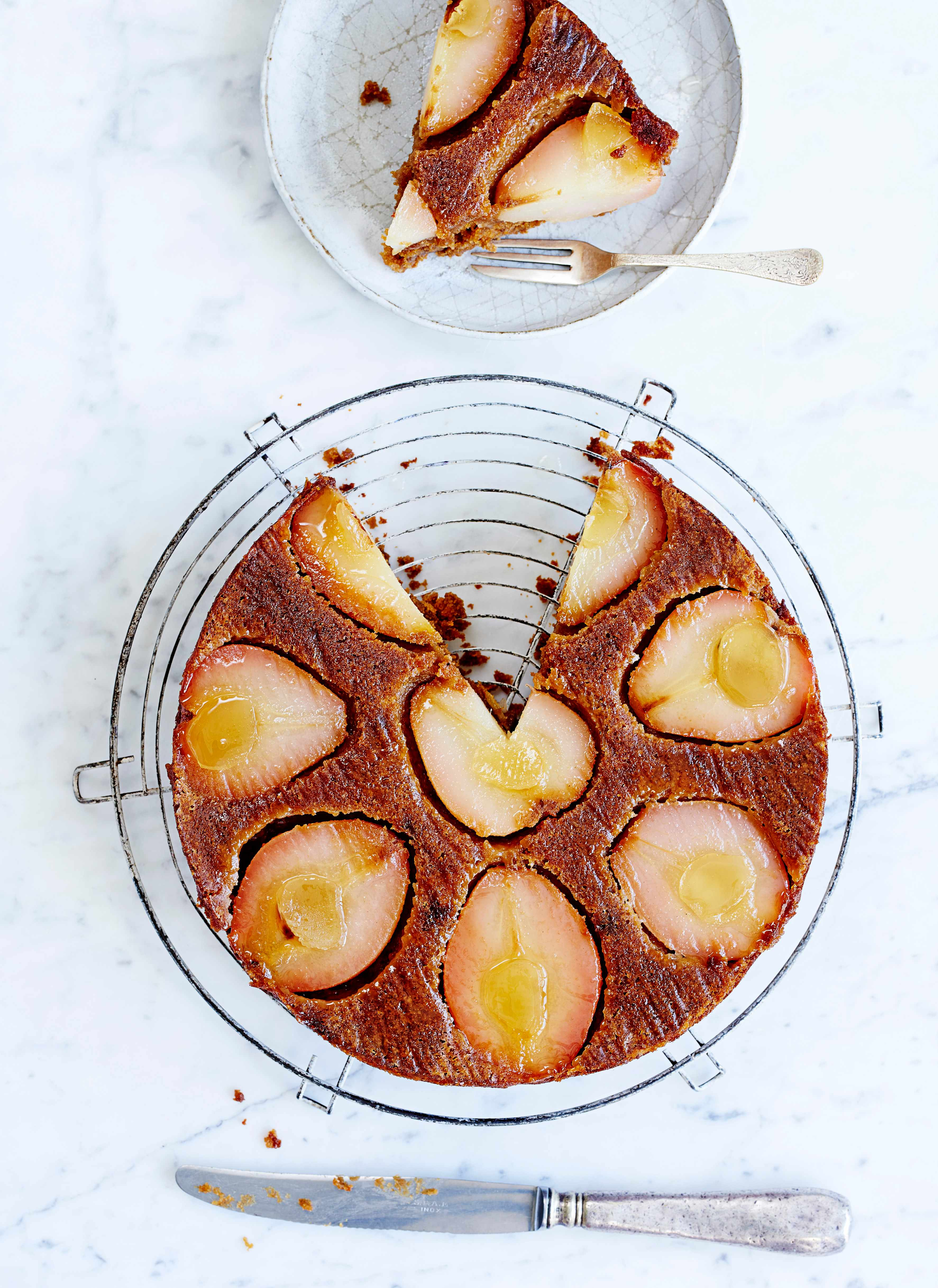 Pear Upside Down Cake Recipe with Ginger