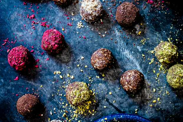 Coconut butter, date and cranberry energy balls