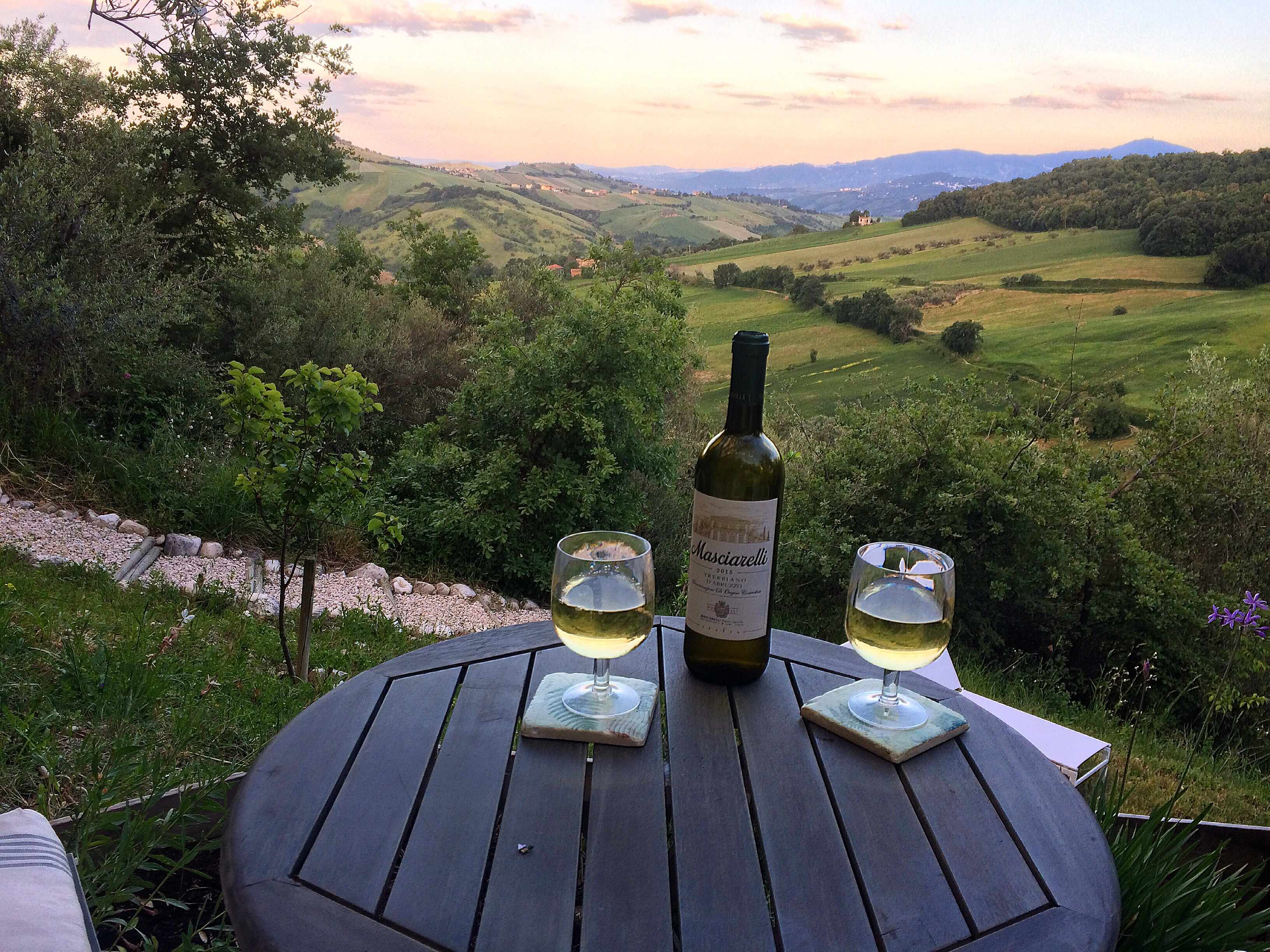 Bottle of wine and two glasses with the view of a valley and sunset