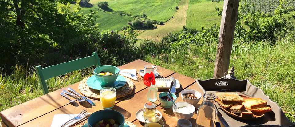 Breakfast table laid out on wooden table with view of olive groves