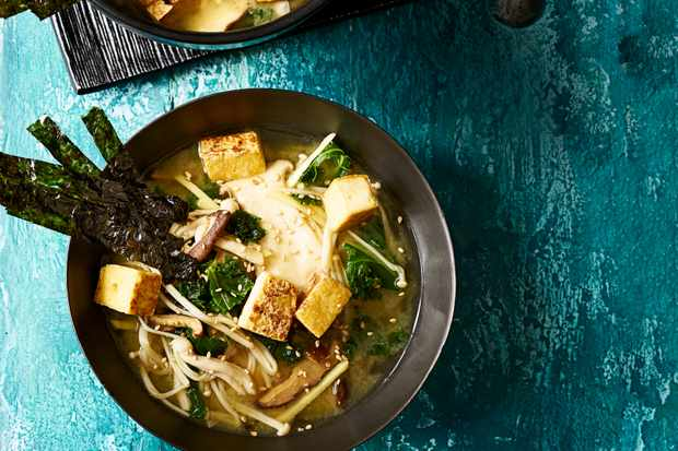 Miso Soup with Crispy Smoked Tofu