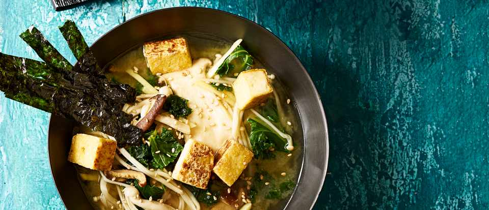 Miso Soup with Crispy Smoked Tofu