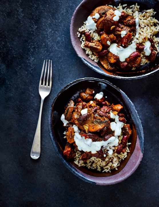 Healthy Mushroom Chilli with wild rice and soured cream
