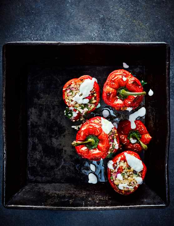 Stuffed Bell Peppers Recipe With Tabbouleh and Feta Dressing