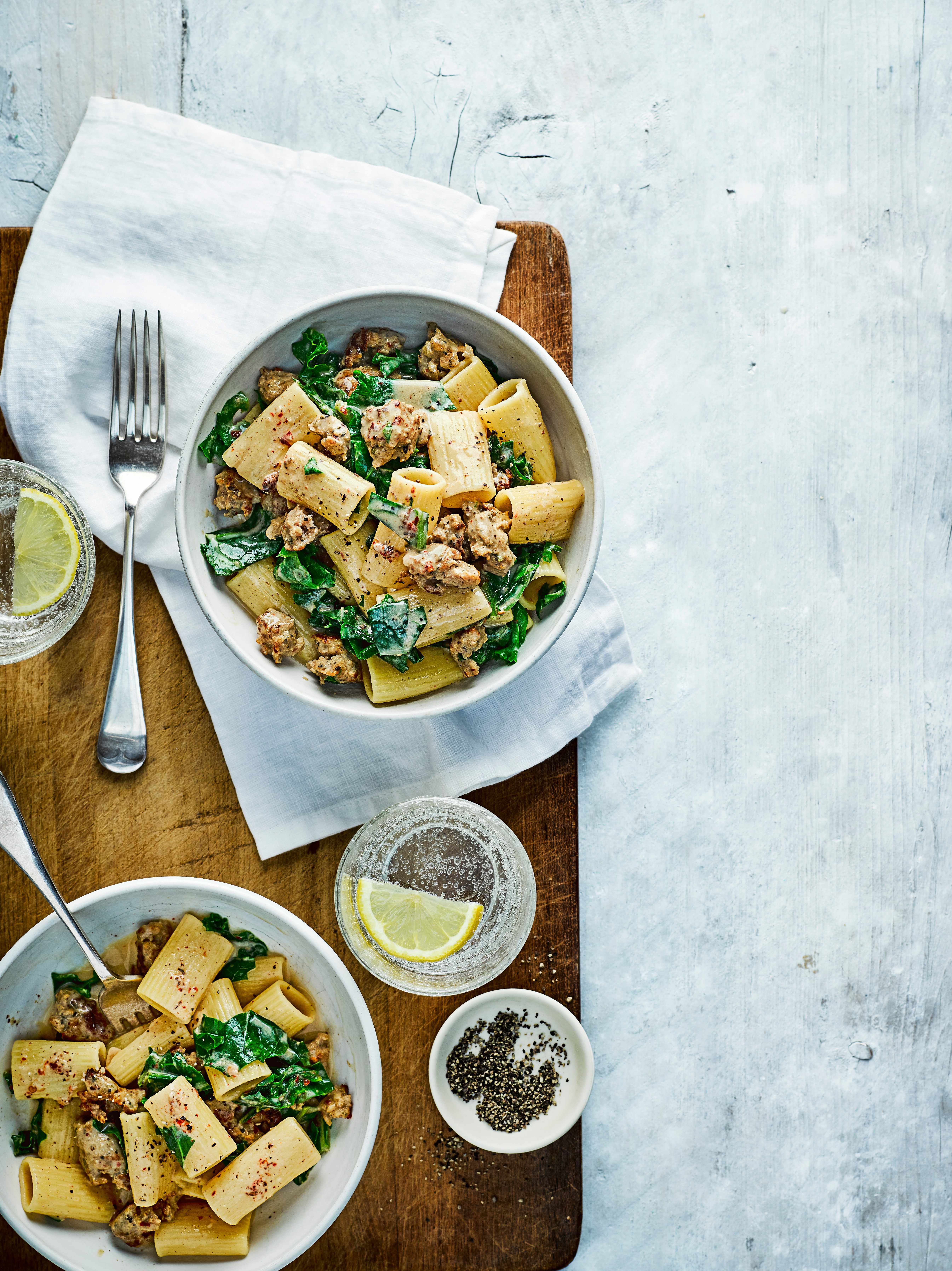 Sausage Pasta Recipe With Kale and Mustard