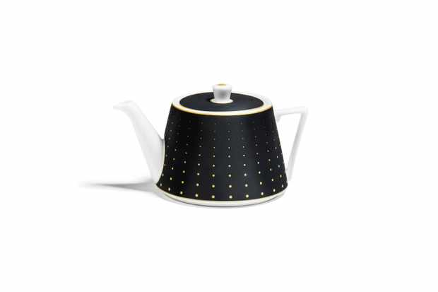 Richard Brendon Hex Small Teapot on black with gold dots on that are larger at the bottom and get smaller and smaller to the top