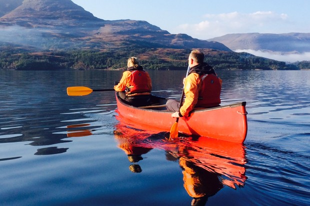 Canoeing on the loch near The Torridon Hotel