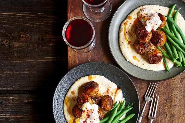 Creamed Beans with Tahini, Lamb Meatballs Recipe