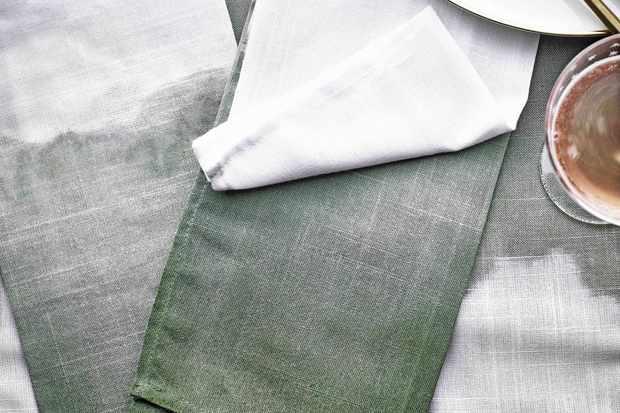 Green dye on folded napkins