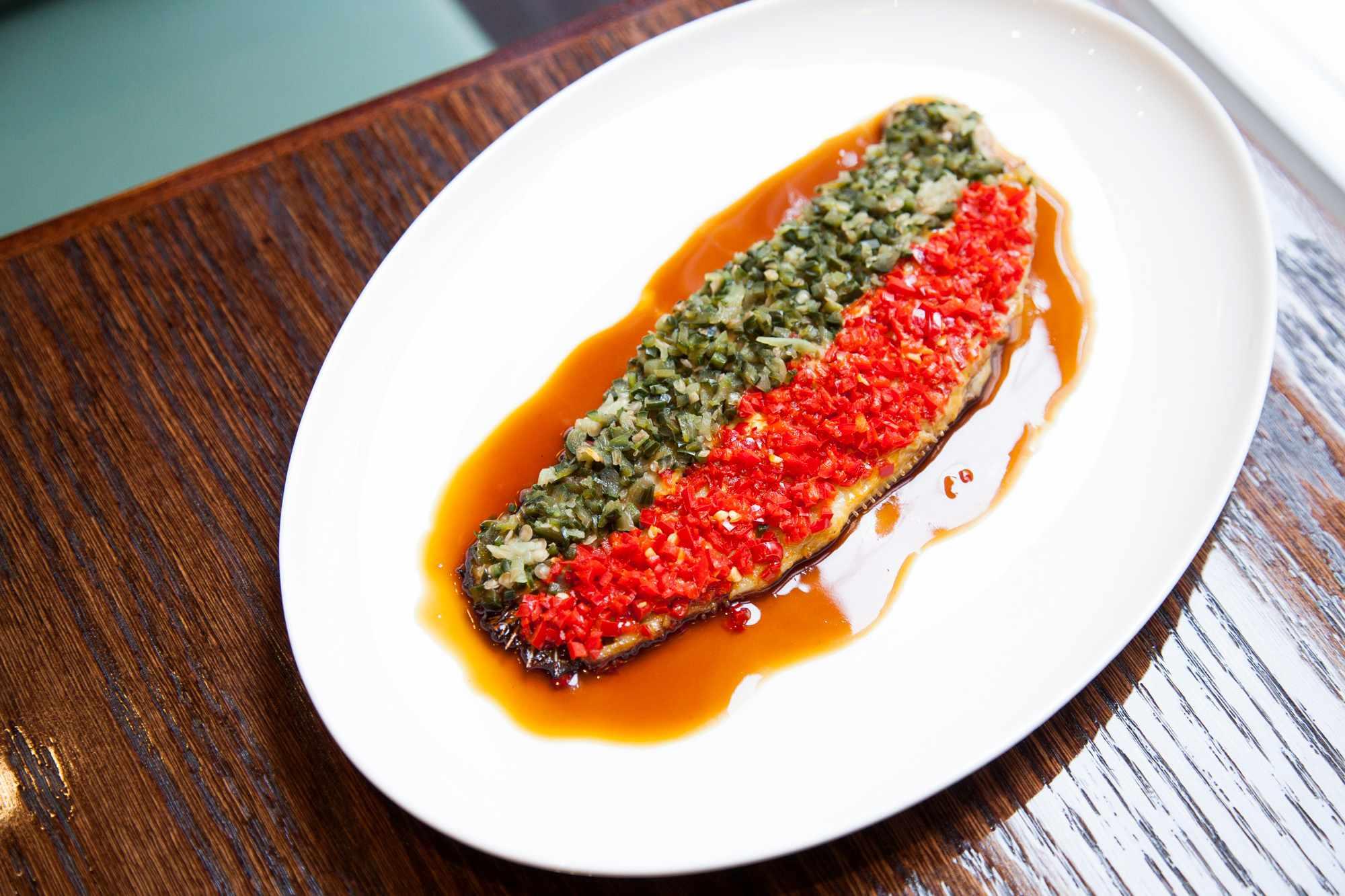 Sea bass recipe with fermented chilli