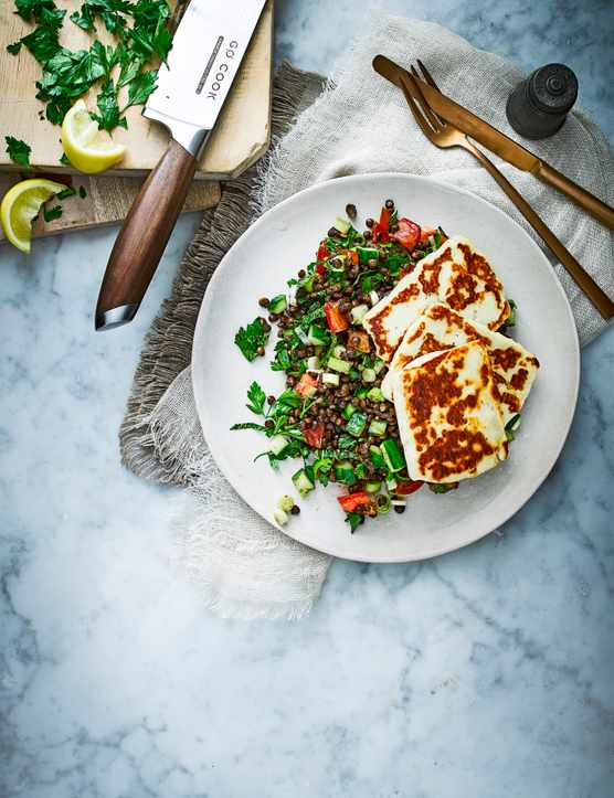 Tabbouleh Salad Recipe with Halloumi and Lentils