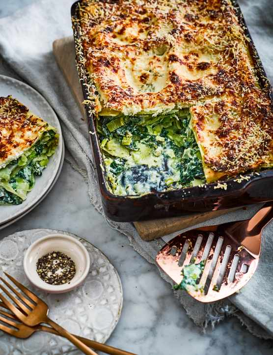 Vegetarian Lasagna Recipe for kale, ricotta and leek lasagne