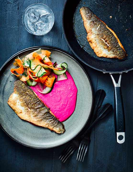 Crispy Sea Bass Recipe with Blitzed Beetroot and Quick Pickled Veg