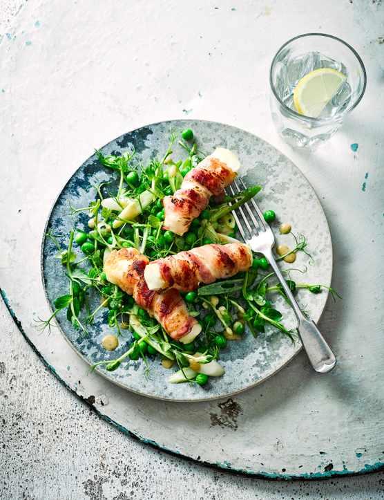 Bacon-Wrapped Halloumi Recipe with Pea Salad