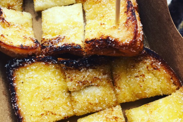 Toast fried in butter with sugar
