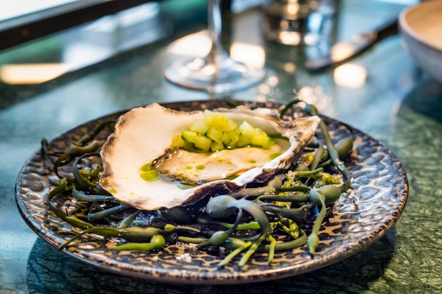 A dark plate with an oyster.