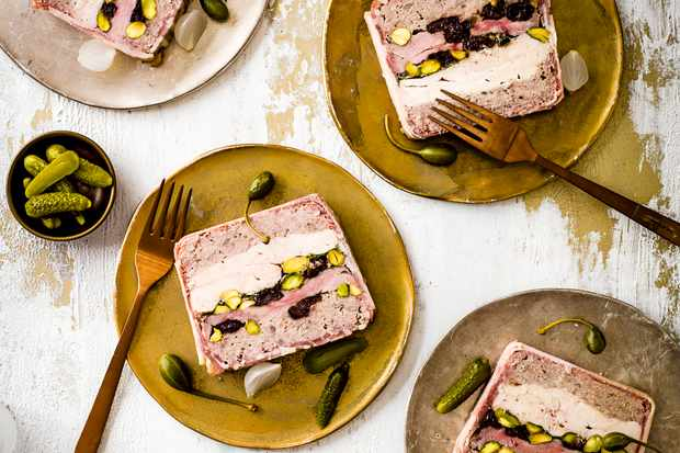 40 easy starter recipes for dinner party starters olive magazine easy terrine recipe with duck chicken and sour cherry forumfinder Image collections