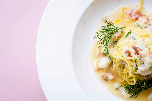 Fiume restaurant, Battersea, London Tagliolini with sea-fresh flakes of white crabmeat