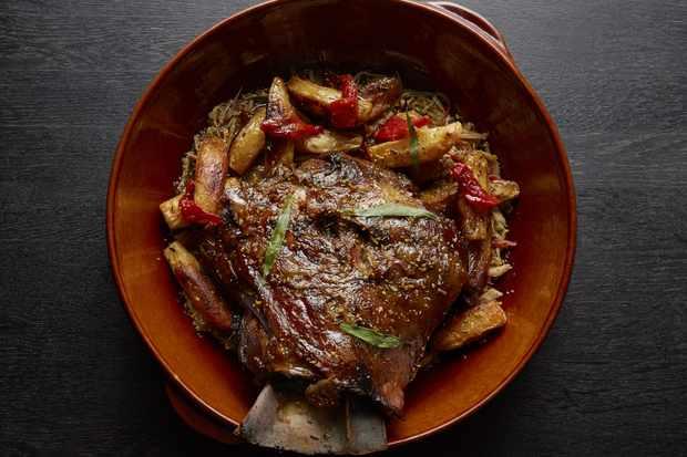 A dish of slow cooked lamb and lamb fat potatoes at Hovarda