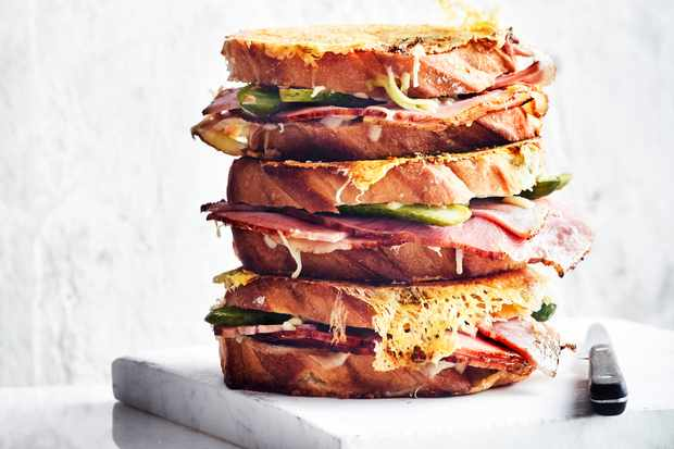 Grilled Cheese Sandwich Recipe with Ham and Pickle