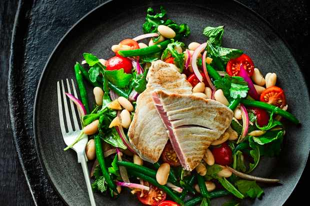 Tuna Steak Recipe with Bean Salad and Preserved Lemon Dressing