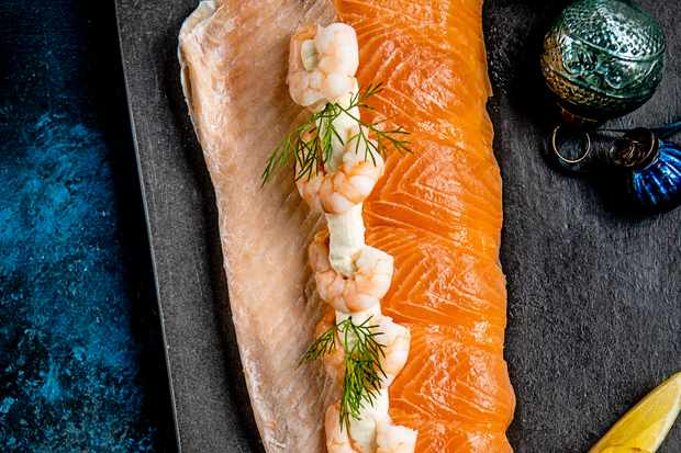 Sainsbury's Taste the Difference dressed poached side of salmon