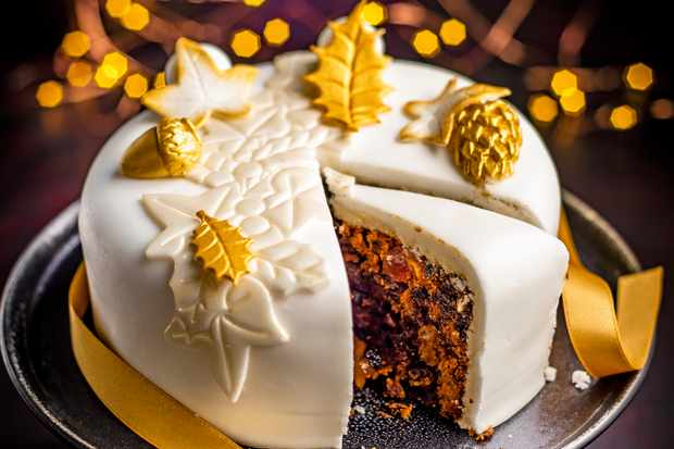 Sainsbury's Taste the Difference falling leaves iced fruit cake