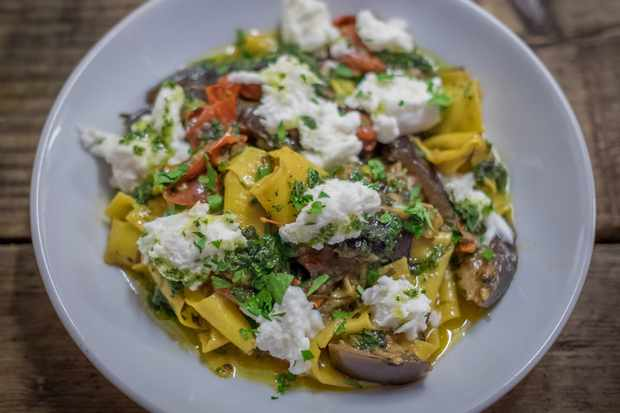 Schooners - Hand rolled pasta with slow-cooked aubergine and tomatoes, campana mozzarella and crispy rosemary
