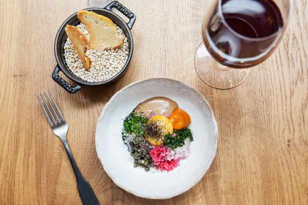 A bowl of veal tartare, another bowl with grains and crispbreads, and a glass of red wine.