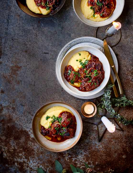 Venison Stew Recipe with Sloe Gin and Cheesy Polenta